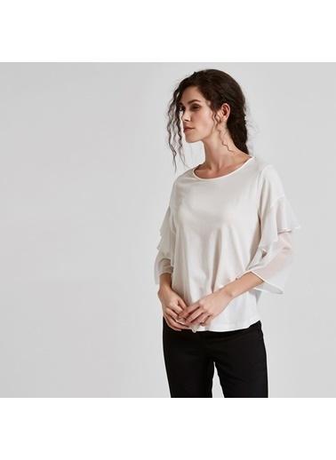 Vekem-Limited Edition Truvakar Kol Volanlı Sıfır Yaka Bluz Beyaz